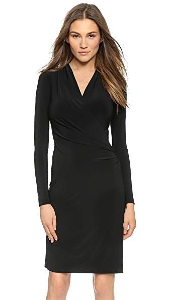 Norma Kamali Long Sleeve Side Draped Dress - Black