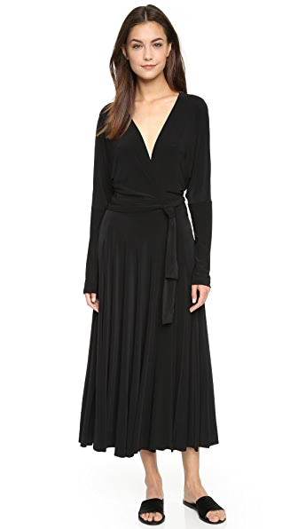 Norma Kamali Kamali Kulture Wrap Flair Dress - Black