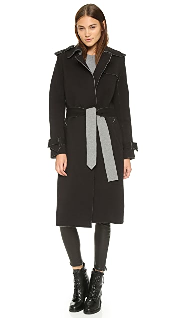 Norma Kamali Double Breasted Wrap Trench Coat