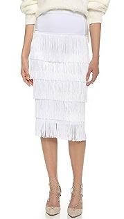 Norma Kamali Allover Fringe Skirt