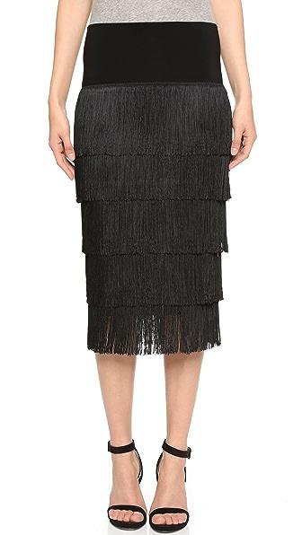 Norma Kamali Allover Fringe Skirt - Black