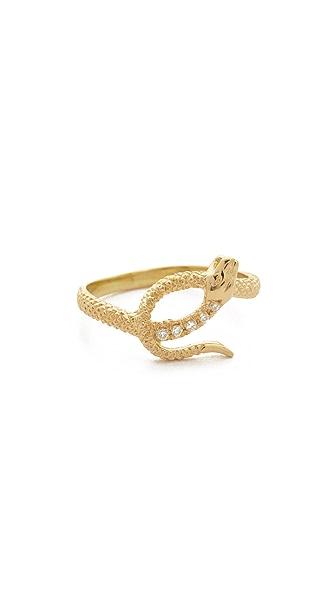 Nora Kogan Serpent Ring with 5 White Diamonds