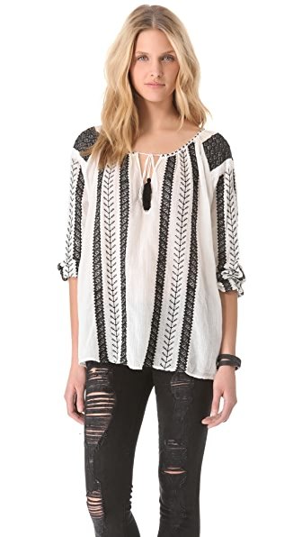 Nili Lotan Bohemian Embroidered Blouse