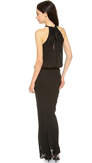 Nili Lotan Ribbon Tie Halter Maxi Dress