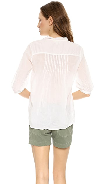 Nili Lotan Lace Up Voile Top