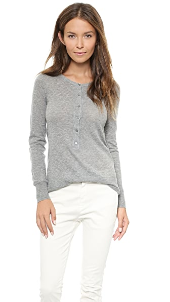 Nili Lotan 18-8 Long Sleeve Henley Sweater