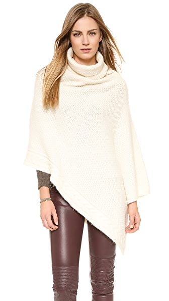 Nili Lotan Seed Stitch Cape with Cable Knit Detail