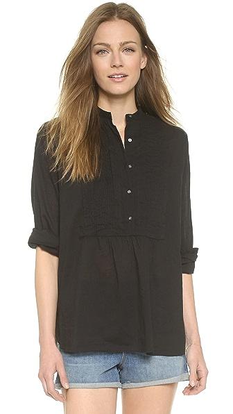 Nili Lotan Tuxedo Peasant Shirt - Black