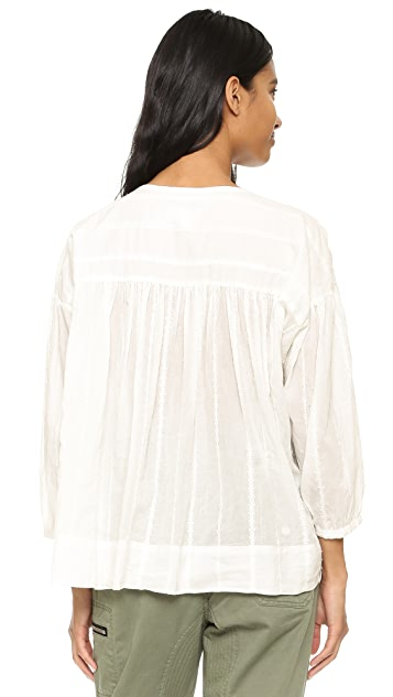 Nili Lotan Embroidered Stripe Provence Blouse
