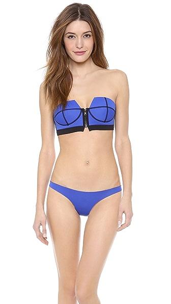 N.L.P Zip Front Strapless Bikini Top