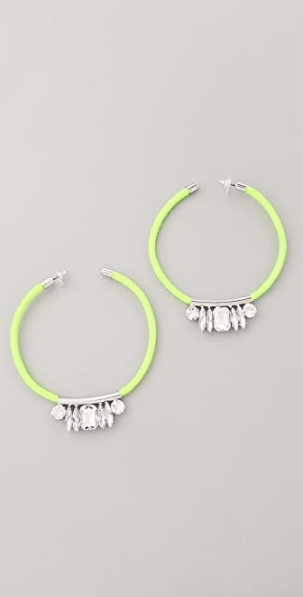 Noir Jewelry Neon Crystal Hoop Earrings