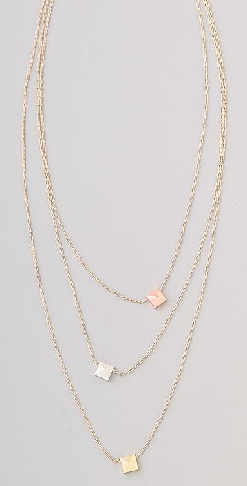 Noir Jewelry Three Pyramid Stud Layered Necklace