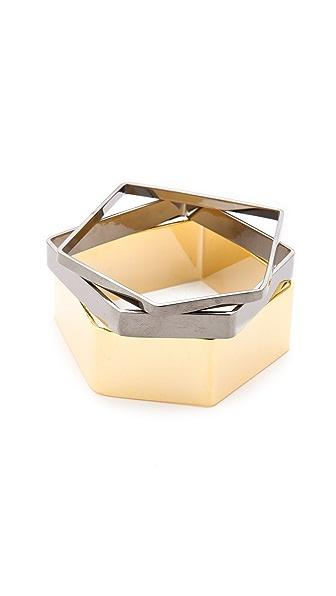 Noir Jewelry Noir for L.A.M.B. Geometric Bangles Set
