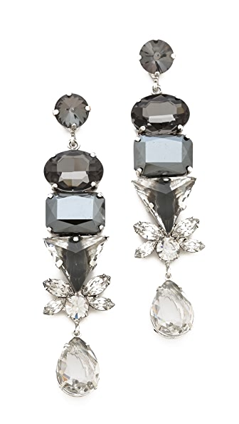 Noir Jewelry Geometric Crystal Drop Earrings