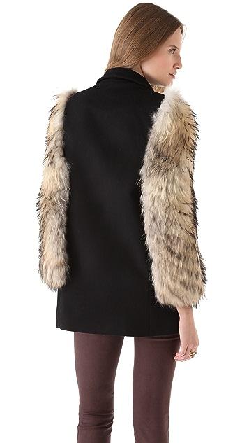 Misha Nonoo Wool Cape with Fur