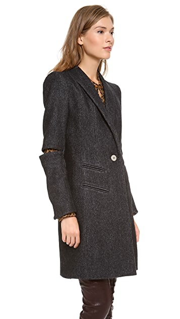 Misha Nonoo Herringbone Slit Sleeve Coat with Patch