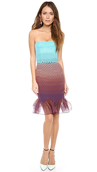 Misha Nonoo Lauren Strapless Ruffle Hem Dress