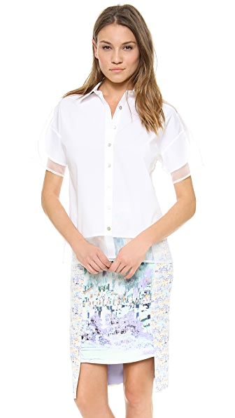 Misha Nonoo Organza Panel Collared Blouse