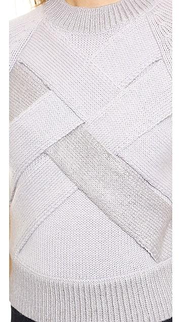Misha Nonoo Crisscross Cropped Sweater