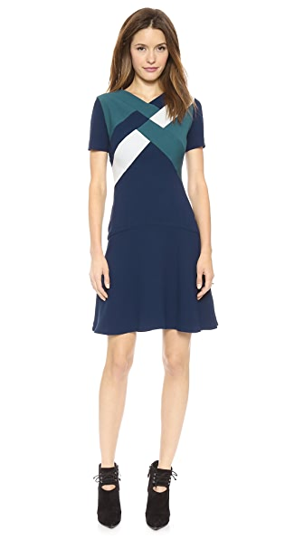 Misha Nonoo Drop Waist Dress with Geo Detail
