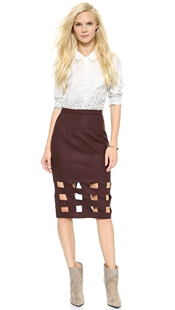 Misha Nonoo Wool Pencil Skirt