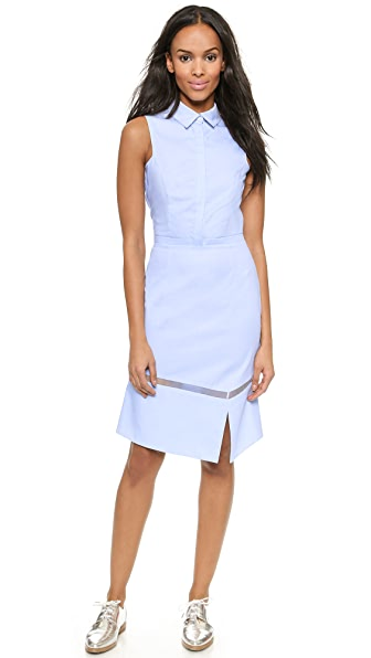 Misha Nonoo Chambray Shirtdress with Organza Insert