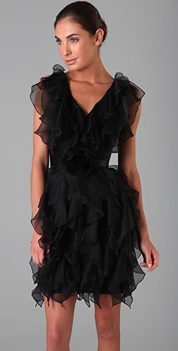 Marchesa Notte Silk Organza Ruffle Dress