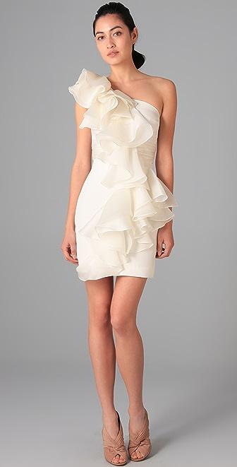 Marchesa Notte One Shoulder Silk Dress with Organza Ruffle