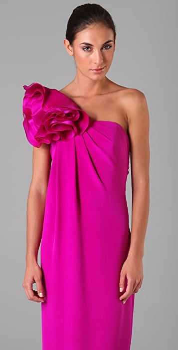 Marchesa Notte One Shoulder Column Gown with Flower