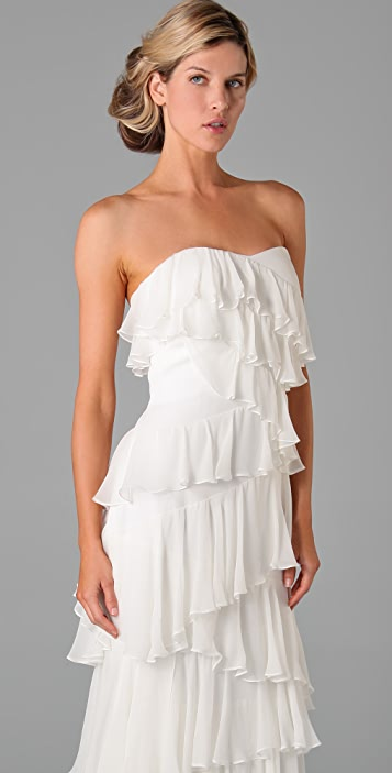 Marchesa Notte Strapless Column Dress with Ruffles