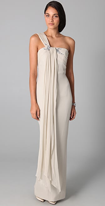 Marchesa Notte One Shoulder Drape Column Gown