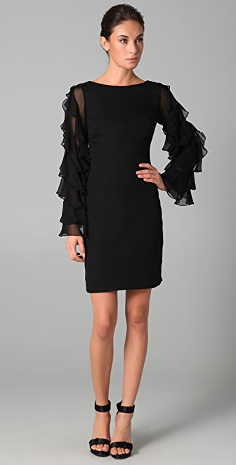 Marchesa Notte Chiffon Shift Dress with Ruffle Sleeves