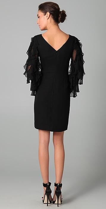 Marchesa Notte Chiffon Shift Dress with Ruffle Sleeves