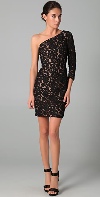 Marchesa Notte One Shoulder Lace Dress
