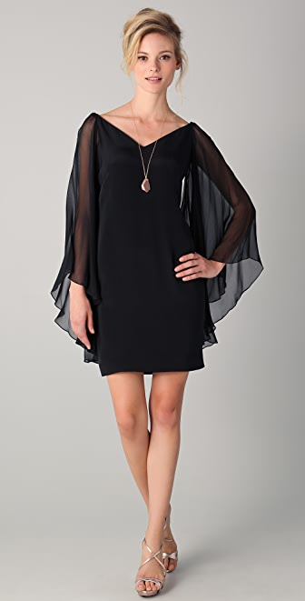 Marchesa Notte Chiffon Sleeve Dress
