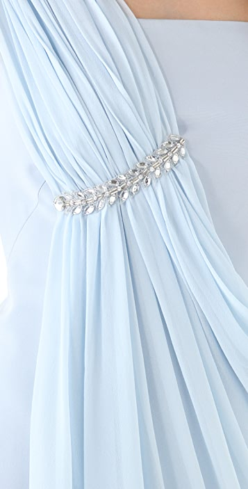 Marchesa Notte One Shoulder Dress with Chiffon Overlay