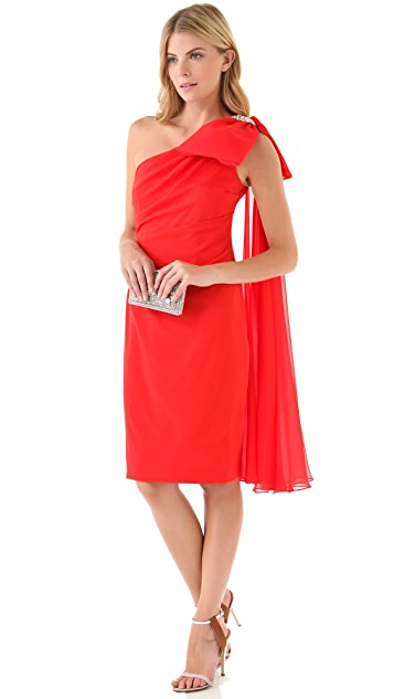 Marchesa Notte One Shoulder Draped Dress