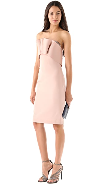 Marchesa Notte Strapless Silk Crepe Dress