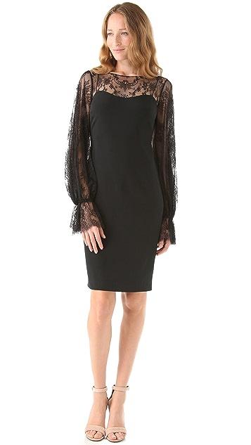 Marchesa Notte Bateau Neck Lace Dress