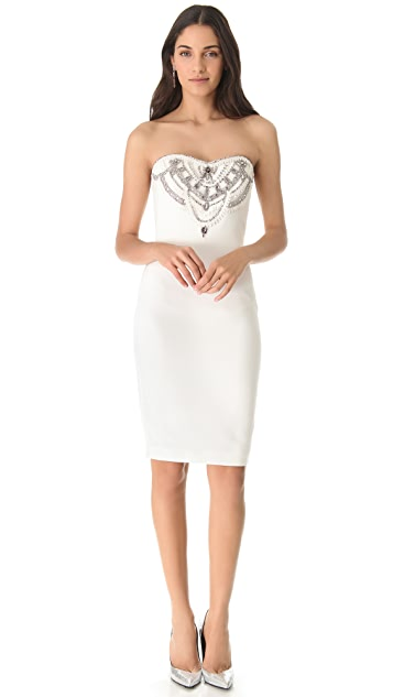 Marchesa Notte Embroidered Strapless Dress