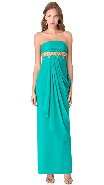 Marchesa Notte Beaded Strapless Gown
