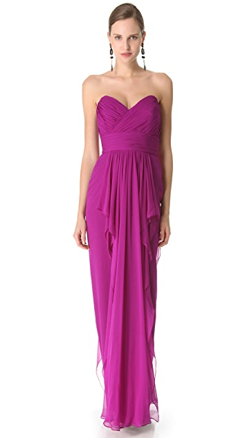 Marchesa Notte Strapless Column Dress