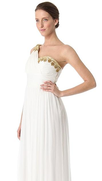 Marchesa Notte One Shoulder Gown