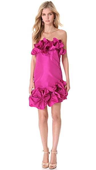 Marchesa Notte Ruffled Strapless Cocktail Dress