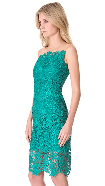 Marchesa Notte Lace Sheath Cocktail Dress