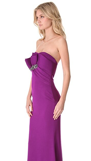 Marchesa Notte Strapless Gown with Draped Bodice