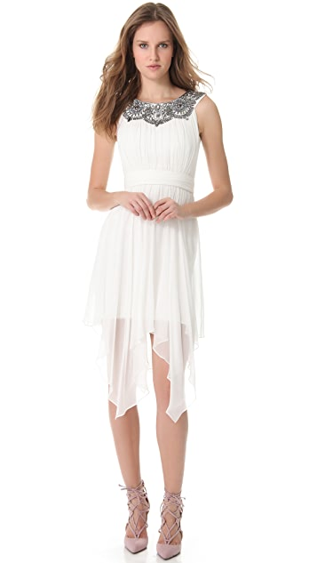 Marchesa Notte Silk Chiffon Cocktail Dress