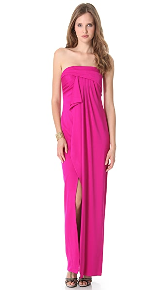 Marchesa Notte Strapless Dress with Draped Bodice