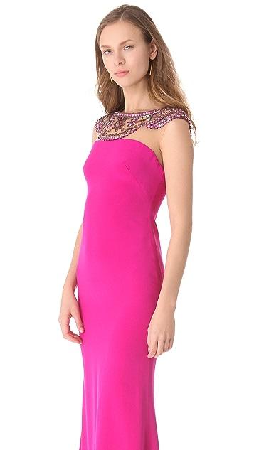 Marchesa Notte Silk Crepe Column Gown