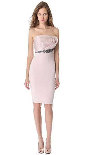 Marchesa Notte Draped Top Cocktail Dress